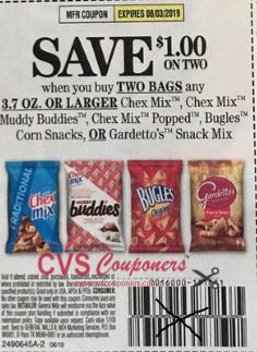 """$0.50/2 Chex or Gardetto's Mix Coupon from """"SMARTSOURCE"""" insert week of 6/9/19."""