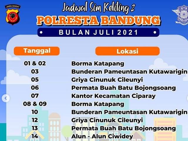 Jadwal Layanan SIM Keliling Polresta Bandung Bulan Juli 2021
