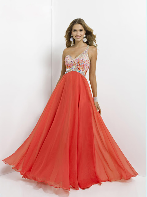 A-line One Shoulder Sleeveless Chiffon Prom Dresses With Beaded