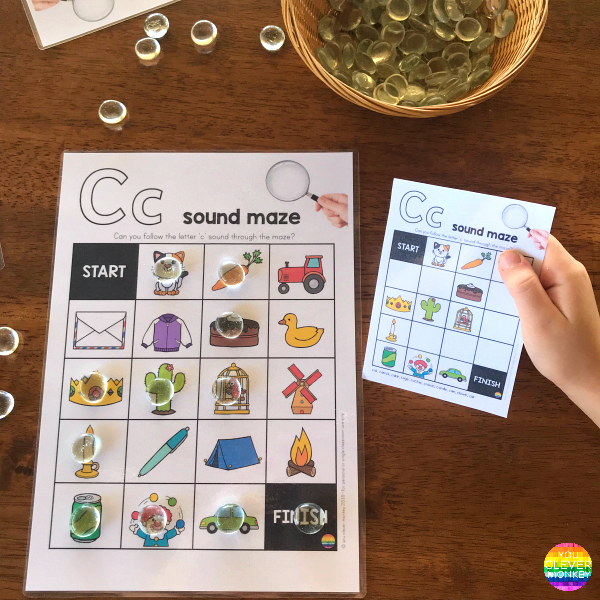 Printable Alphabet Initial Sound Mazes   you clever monkey