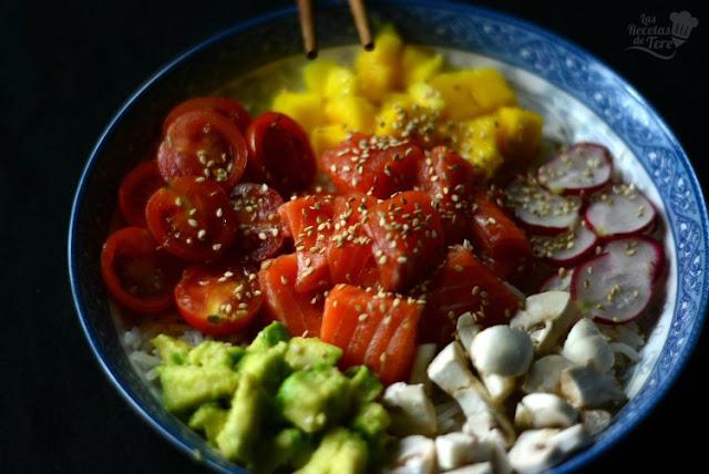 Poke con trucha, mango y vegetales tererecetas 04