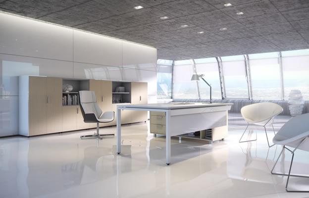 escritorio en blanco combinado con madera chicanddeco