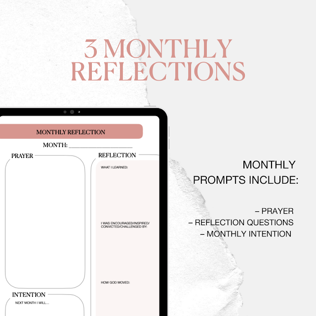 3 monthly reflections. Monthly prompts include: prayer, reflection questions, monthly intention.