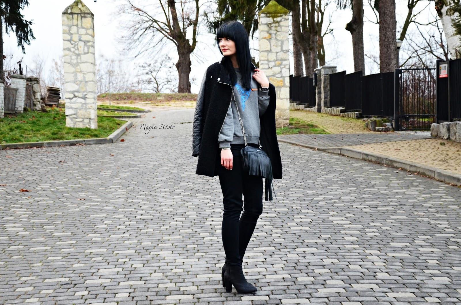 czarno-szara stylizacja, stylizacja na co dzień, dresowa bluza