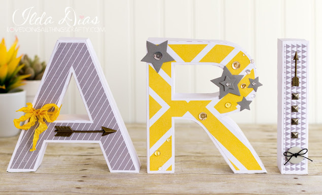 #SVGCuts,Silhouette Cameo,3D letters,yellow,Ari,Name 3D,boy,Paper Letters,SVGCuts Files,baby gift,grey,ilovedoingallthingscrafty,