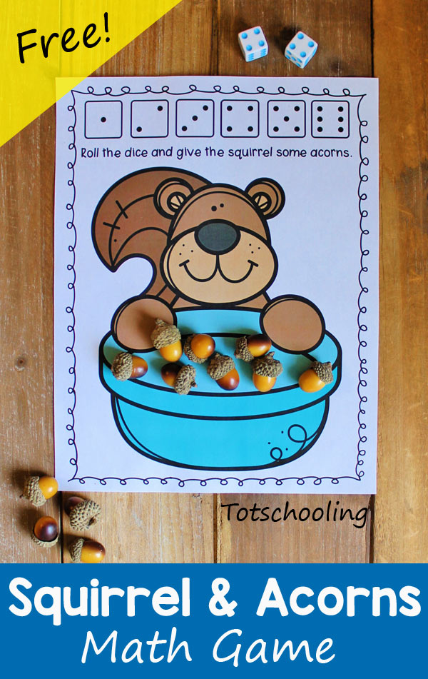 FREE printable Fall themed math game featuring a squirrel collecting acorns in a bowl. Roll the dice to find out how many acorns the squirrel got. Fun math activity to practice counting and addition.