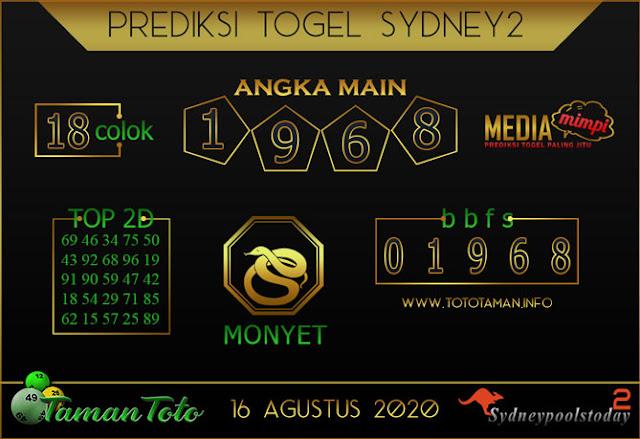 Prediksi Togel SYDNEY 2 TAMAN TOTO 16 AGUSTUS 2020