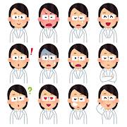 いろいろな表情の白衣を着た人のイラスト(女性)