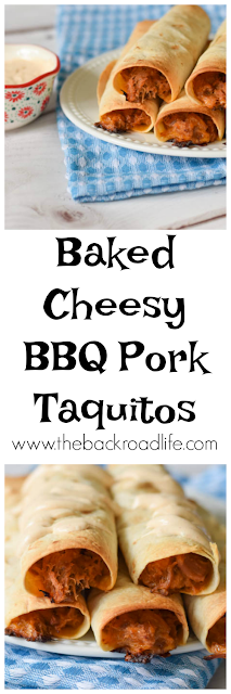 Baked Cheesy BBQ Pork Taquitos pinterst