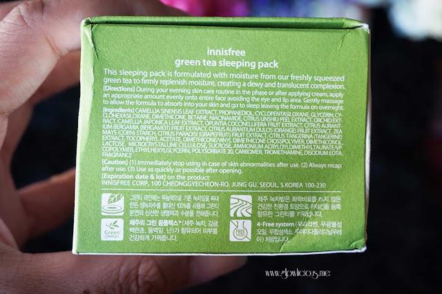 Ingredients Innisfree Green Tea Sleeping Pack