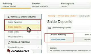 cek no rekening bri lewat internet banking