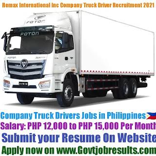 Remax International Inc Company Truck Driver Recruitment 2021-22
