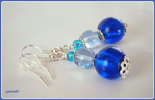 bransoletka i kolczyki, niebieszkie szkło, kobaltowy zestaw