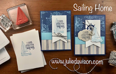 Stampin' Up! Sailing Home: Simple to Stepped Up ~ July 2019 Control Freaks Blog Tour ~ 2019-2020 Stampin' Up! Annual Catalog ~ www.juliedavison.com