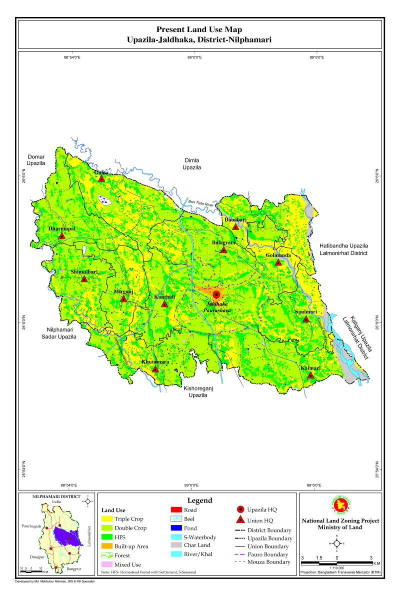 Jaldhaka Upazila Mouza Map Nilphamari District Bangladesh