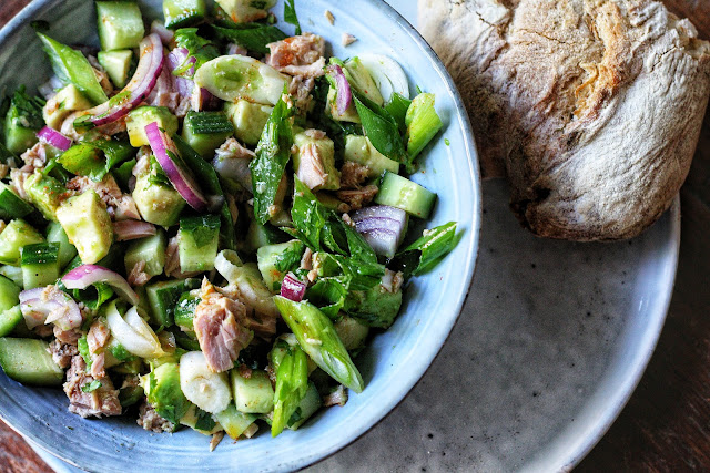 Avocado Tuna Salad with Chili Lime Dressing
