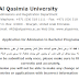 Beasiswa Musim Gugur Universitas Al-Qasimia, Sharjah, Uni Emirat Arab 2019–2020
