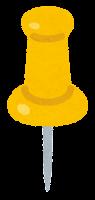 画鋲のイラスト(黄色)