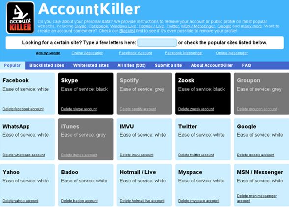Account Killers Helps to Delete Online Accounts