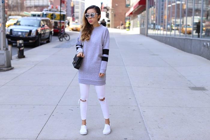 Topshop crewneck sweatshirt dress, Chanel classic flap bag, Quay marble frame sunglasses, Asos jeans, vans slip on, street style, nyc fashion blog
