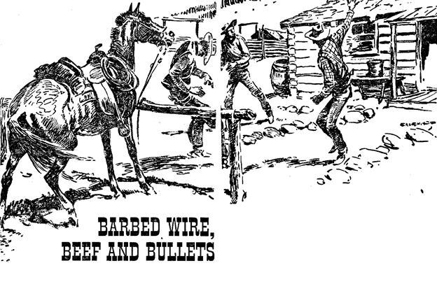 Illustration for Barbed Wire, Beef and Bullets by Tom Blackburn in Western Story Annual, 1948