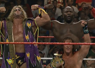 WWF / WWE - King of the Ring 96 - Ultimate Warrior, HBK, Ahmed Johnson celebrating after the show