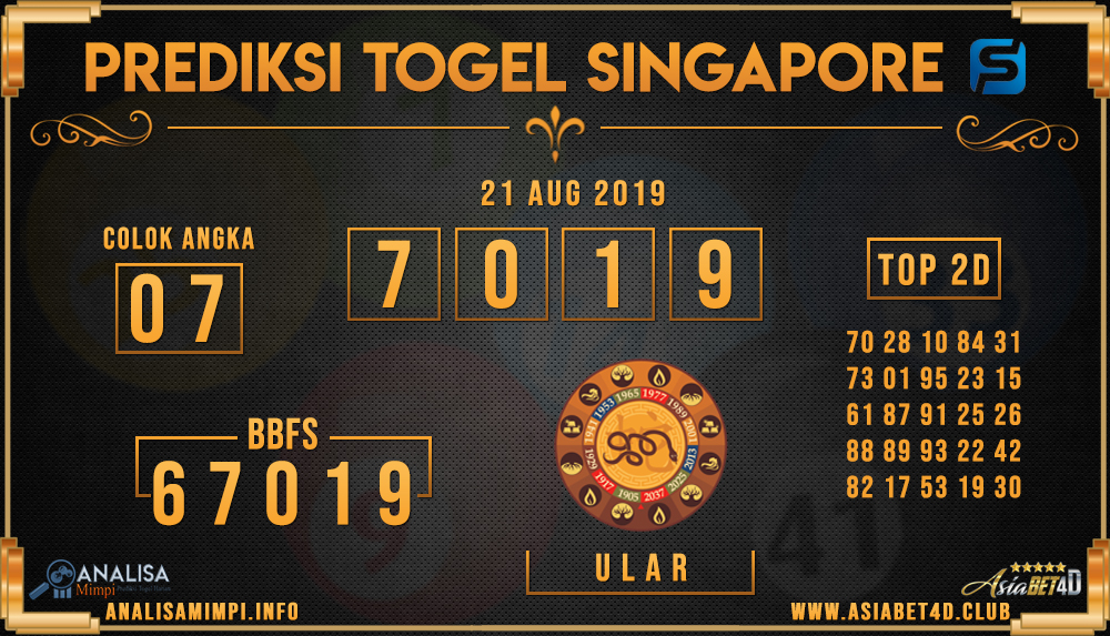 PREDIKSI TOGEL SINGAPORE ASIABET4D 21 AUG 2019
