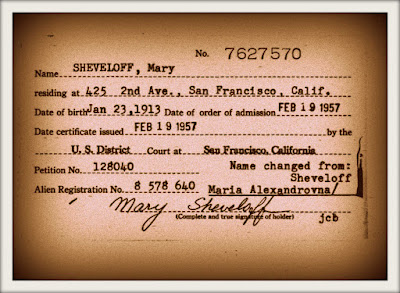 Mary Sheveloff's Naturalization record from 1957. Her address is listed as 425 2nd Avenue, San Francisco, California