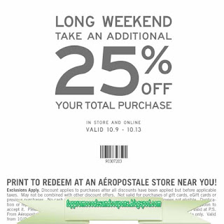 Aéropostale coupon codes for August 13, 12222