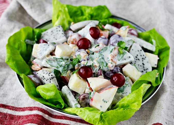 Waldorf salad with dragon fruit
