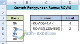rumus ROWS dalam Excel
