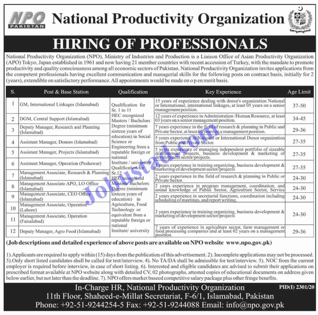 Jobs in National Productivity Organization NPO Govt of Pakistan 2020