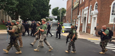 Citizen militia march in Charlotttesville, August 12