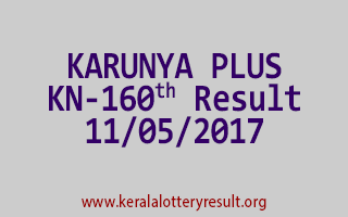 KARUNYA PLUS Lottery KN 160 Results 11-5-2017
