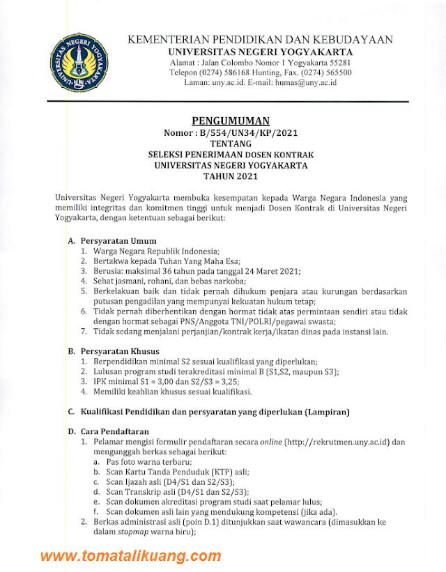 dibuka lowongan penerimaan dosen kontrak uny tahun 2021 (universitas negeri yogyakarta)