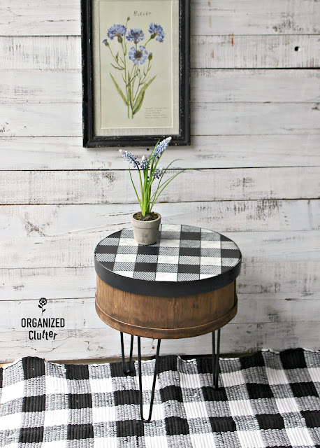 Garage Sale Cheese Box Repurposed As A Side Table #hobbylobby #hairpinlegs #oldsignstencils #buffalocheck