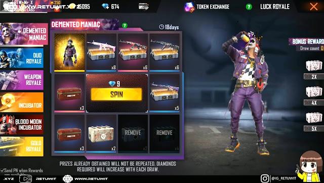 Bundle Royale Terbaru Spesial Anniversary FF Demented Maniac