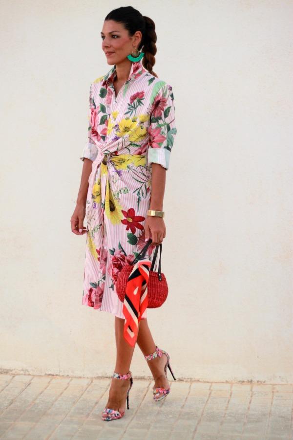 vestido camisero, vestido estampado, vestido de flores, flores y rayas