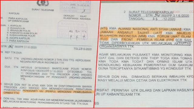 Beredar Surat Telegram Kapolri, Jokowi Disebut Teken Perppu Pembubaran 6 Ormas Islam Termasuk FP1