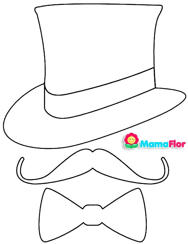 Moldes: Bigotes, Corbatas, Sombrero y Michi para Decoración Día del Padre