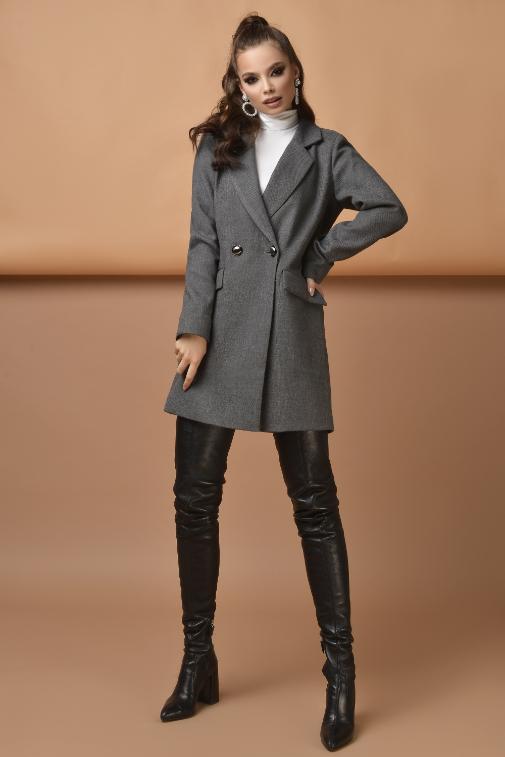 Palton scurt modern de dama gri din stofa