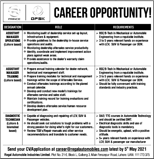 Assistant Manager Latest Jobs May 2021 in Lahore & Islamabad