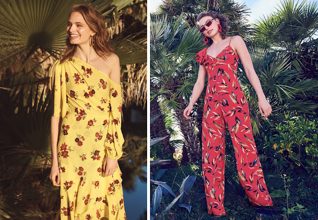 Девушки в ярких платьях с цветочным принтом