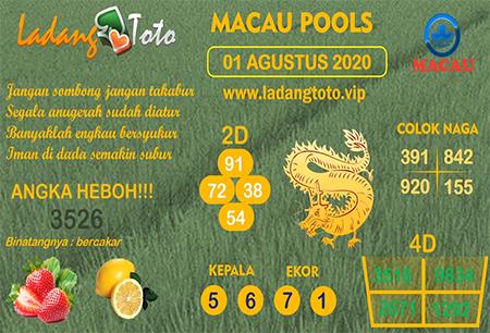Prediksi Ladang Toto Macau Pools Sabtu 01 Agustus 2020