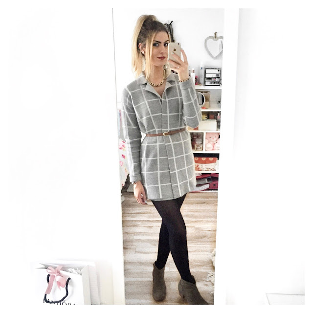 grey checked coat outfit new look
