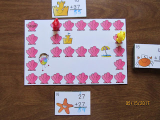 2 Digit Addition Regrouping Beach Task Cards