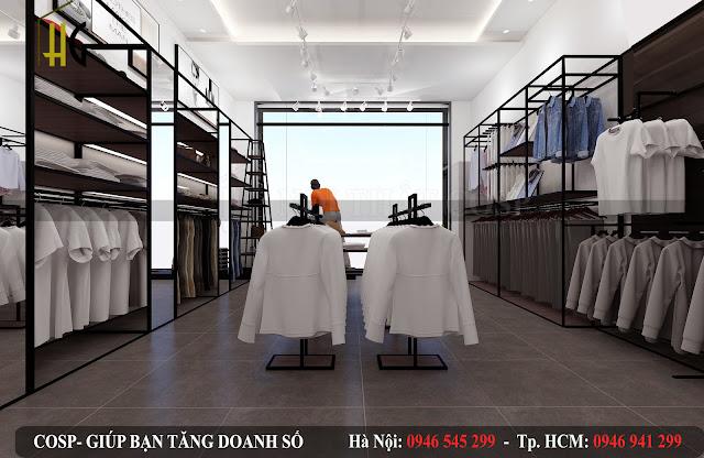 thiết kế cửa hàng thời trang nam sang trọng nhất