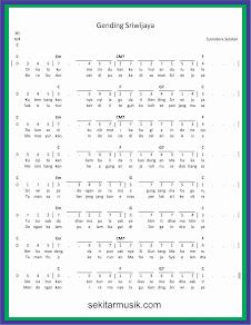not angka gending sriwijaya lagu daerah sumatera selatan