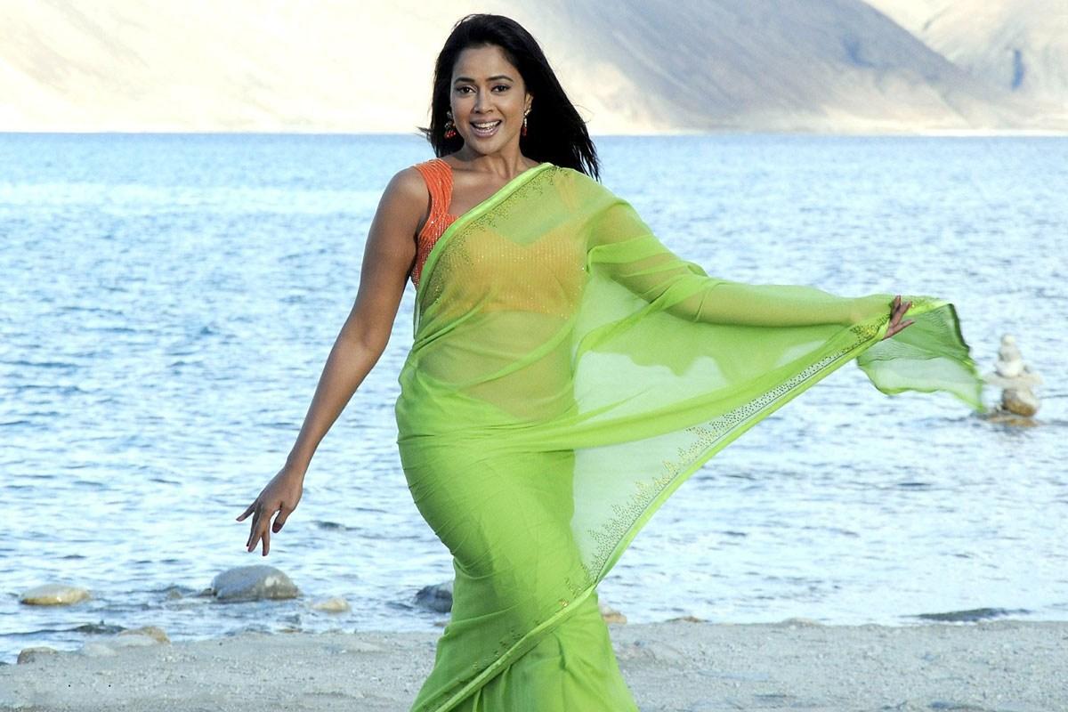 Actress Sameera Reddy Show Navel In Transparent Saree