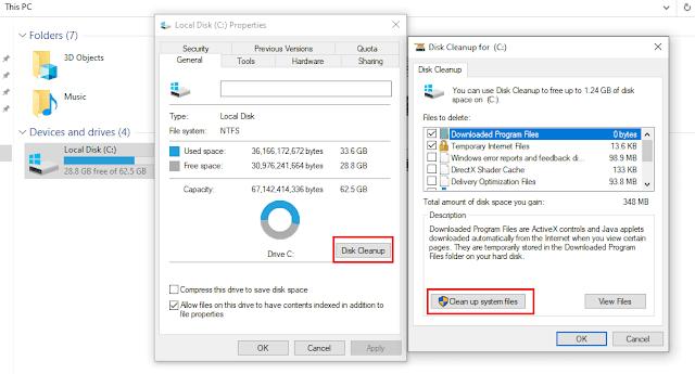 تسريع ويندوز 10 عن طريق تنظيف C